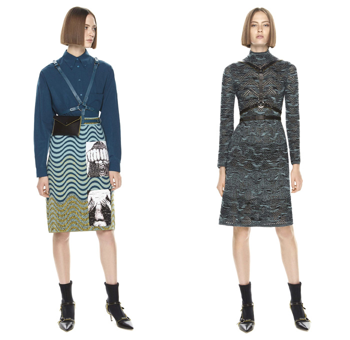 M Missoni 2017 Pre Fall Autumn Womens Lookbook Presentation - Oversized Outerwear Coat Knit Sweater Jumper Stripes Cargo Pockets Turtleneck Hooded Sweatshirt Skirt Frock Brocade Jacquard Ornamental Decorative Baroque Art Embroidery Wrap Twist Bandage Camouflage Foot Strap Abstract Triangle Cap Sleeve Shorts Ruffles Tiered Waves Mesh PVC Pants Trousers Blouse Drawstring Vest Cardigan Harness Fanny Pack Waist Pouch Belt Bag Sheer Chiffon Purse Clutch