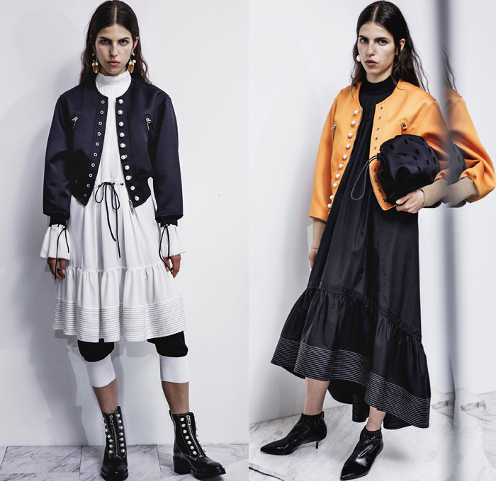 3.1 Phillip Lim 2017 Pre Fall Autumn Womens Lookbook Presentation - Age Of Innocence Victorian Peasant Blouse Skirt Drawstring Cinch Lace Up Pearls Stripes Corset Knit Outerwear Coat Blazer Jacket Anorak Windbreaker Buttons Bell Sleeves Dress Plaid Tartan Check Wool Pussycat Bow Bomber Jacket Linen Plastic High Waist Track Pants Sporty Jogger Sweatpants Pinafore Strapless Vest Waistcoat Polka Dots Denim Mom Jeans Tapered Dark Wash Faded Bleached Wide Leg Crossbody Bag Purse Clutch Ankle Boots Grommets