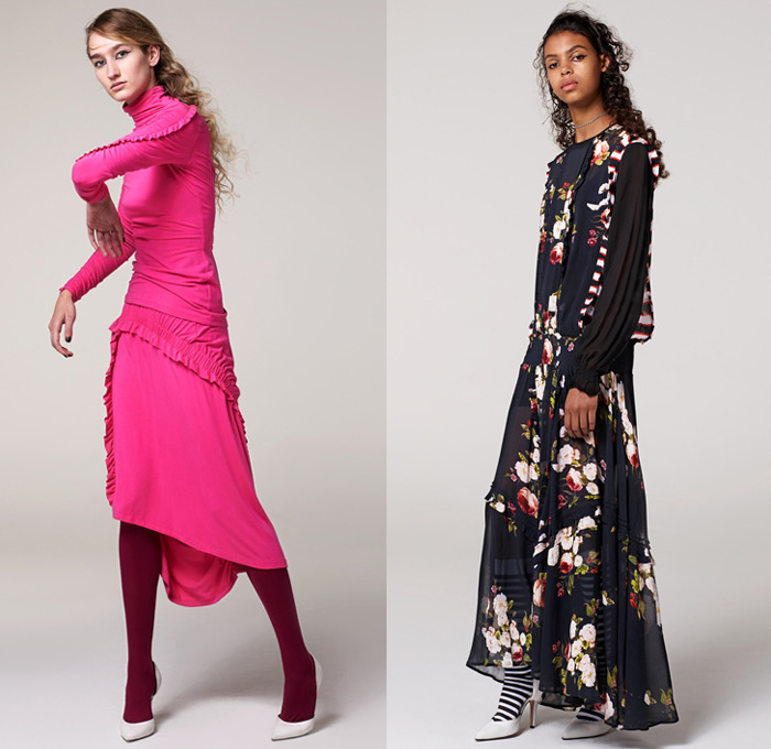 Preen Line by Thornton Bregazzi 2017 Pre Fall Autumn Womens Lookbook Presentation - Maxi Dress Goddess Gown Sheer Chiffon Flowers Floral Motif Turtleneck Stripes Plaid Tartan Check Leggings Stockings Tights Leg Warmers Metallic Silver Motorcycle Biker Jacket Chunky Knit Sweater Cardigan Oversized Zigzag Cutout Shoulders Shirtdress Angled Hem Velvet Sweatshirt Hood Playsuit Onesie Drawstring Cinch Ankle Boots Bow Tie