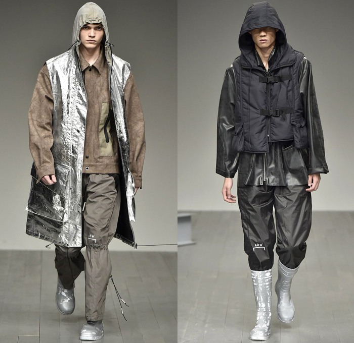 A-COLD-WALL* 2018-2019 Fall Autumn Winter Mens Runway Catwalk Looks - London Fashion Week Mens Collections UK - Outerwear Coat Parka Anorak Windbreaker Rainwear Quilted Waffle Puffer Down Jacket Long Vest Sweatshirt Sweater Turtleneck Field Utility Jacket Drawstring Cinch Cargo Utility Pockets Detachable Hood Snap Buttons Tearaway Pants Metallic Foil Cinch Shorts Fanny Pack Waist Pouch Belt Bag Harness Straps Belts Buckles Galoshes Flood Mud Boots Hat Neck Flap Baseball Cap Crossbody Bag