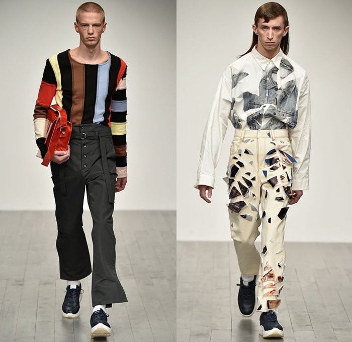 Alex Mullins 2018-2019 Fall Autumn Winter Mens Runway Catwalk Looks - London Fashion Week Mens Collections UK - Outerwear Chef Safari Field Jacket Coat Fold Over Buttons Suit Blazer Pinstripe Long Sleeve Shirt Stripes Shaggy Plush Fur Quilted Waffle Puffer Down Tie-Dye Perforated Hole Patches Embroidery Torn Ripped Pieces Manskirt Cropped Pants Trousers Relaxed Slouchy Pleats Jeans Contrast Stitching Denim Print Trainers Socks Gloves Ski Mask Messenger Bag