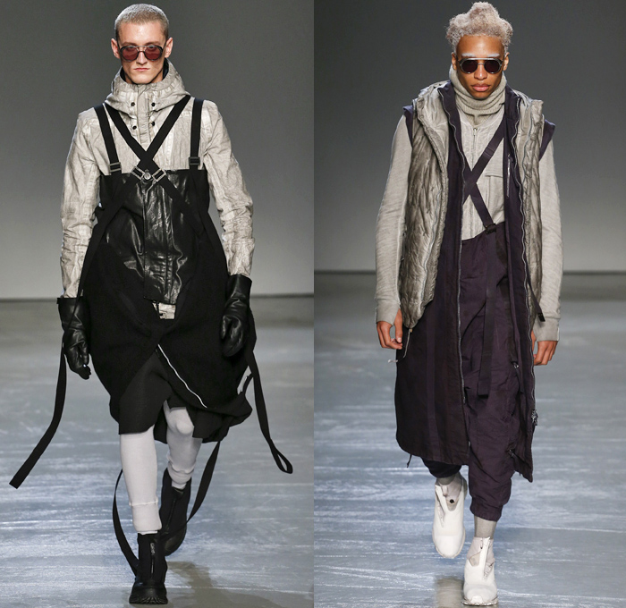 Boris Bidjan Saberi 2018-2019 Fall Autumn Winter Mens Runway Show Catwalk Looks - Mode à Paris Fashion Week France - Apocalyptic Alpine Athletics Sports Snowboard Skis Dystopian Backpacks Arctic Frosty Outerwear Coat Parka Poncho Onesie Quilted Waffle Puffer Down Vest Turtleneck Knit Sweater Crop Top Midriff Plush Fur Utilitarian Leggings Worker Swamp Mud Pants Distressed Rustic Straps Belts Harness Suspenders Waistband Cap Headband Trainers Boots Glasses Goggles Gloves