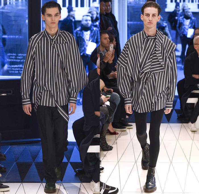 Hussein Chalayan 2018-2019 Fall Autumn Winter Mens Runway Catwalk Looks - London Fashion Week Mens Collections UK - Périphérique Ring Road Paris France Outerwear Overcoat Long Trench Coat Hoodie Jacket Peel Away Fold Over Extra Panel Turtleneck Capelet Perforated Torn Frayed Raw Hem Asymmetrical Cutout Long Sleeve Blouse Shirt Tailored Stripes Deconstructed Organic Shape Onesie Jumpsuit Coveralls Leggings Tights Hosiery Cargo Pockets Boots