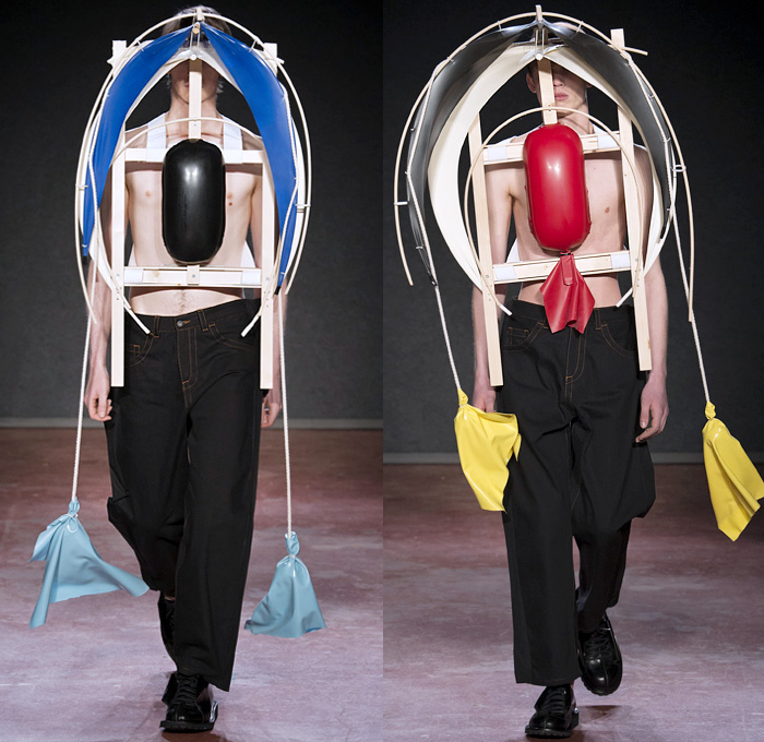 Craig Green 2018-2019 Fall Autumn Winter Mens Runway Catwalk Looks - London Fashion Week Mens Collections UK - Gig Lines Human Tent Kite Skeleton Cords Rope Braid Wireframe Pleats PVC Vinyl Pleather Tiered Overlapping Nylon Knit Weave Drawstring Shoelace Tie Up Arm Warmers Deconstructed Panels Wool Colorblock Geometric Paratrooper Parachute Sculptural Long Coat Parka Anorak Cutout Shoulders Sweater Jumper Cargo Pockets Hood Denim Jeans Paper Cutout Seams Fanny Pack Waist Pouch Belt Bag
