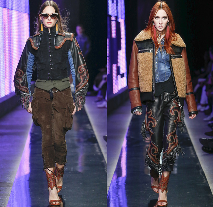 Dsquared2 2018-2019 Fall Autumn Winter Womens Runway Catwalk Looks - Milano Moda Uomo Milan Fashion Week Italy - Rhinestone Rebel Western Cowgirl Rodeo Silk Yokes Leather Suede Fringes Plaid Check Cow Pattern Embroidery Bedazzled Studs Sequins Flowers Floral Sheer Lace Plush Fur Shearling Horses Tassels Coat Marching Band Jacket Leg O'Mutton Sleeves Blouse Knit Sweater Crochet Vest Patchwork Jodhpurs Riding Breeches Leggings Peasant Prairie Dress Denim Jeans Hat Scarf Earrings Bolo Neck Tie Bag