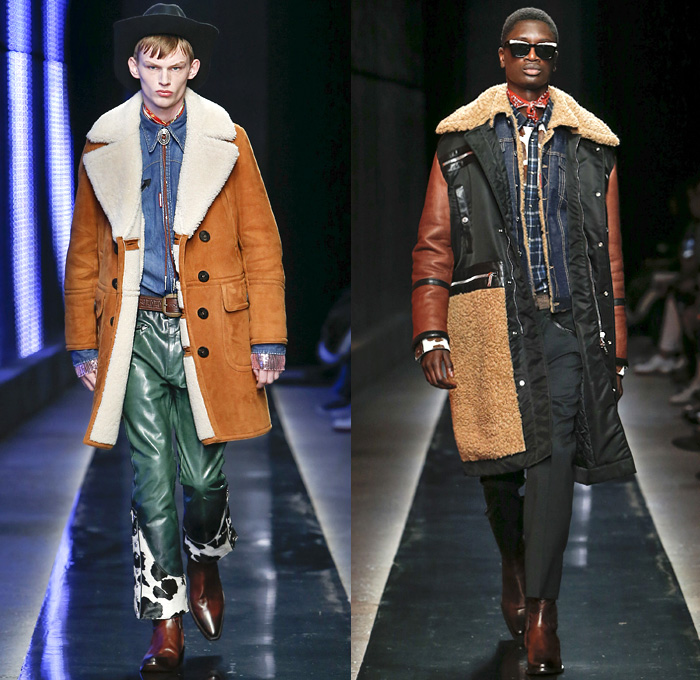 Dsquared2 2018-2019 Fall Autumn Winter Mens Runway Catwalk Looks - Milano Moda Uomo Milan Fashion Week Italy - Rhinestone Rebel Old West Western Cowboy Rodeo Nomad Silk Elaborate Yokes Jewelled Cachon Studs Tailored Leather Beads Bohemian Suede Crystals Plaid Tartan Check Bow Embroidery Bedazzled Crystals Fringes Cow Skin Flowers Floral Plush Fur Shearling Outerwear Coat Quilted Vest Waistcoat Knit Sweater Denim Jeans Chambray Shirt Wide Brim Hat Scarf Bolo Shoestring Neck Tie Boots Loafers