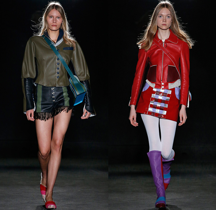 Mietis 2018-2019 Fall Autumn Winter Runway Catwalk Looks - 080 Barcelona Fashion Catalonia Spain - A Safari To Wonderland Military Glam Rock Feathers Circus Ringmistress Colorblock Patchwork Fringes Tassels Metallic Satin Embroidery Bedazzled Outerwear Coat Bell Sleeves Cargo Pockets Sleeveless Strapless Peel Away Dovetail High Shoulders Shorts Miniskirt Flare Pants Stockings Tights Leather Boots Crossbody Handbag Sack Duffel Opera Gloves