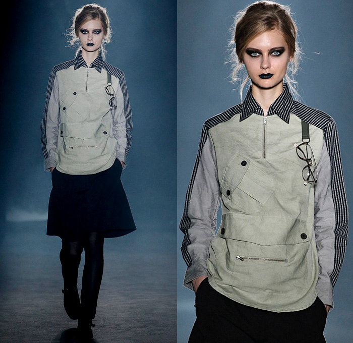 OSCARLEON 2018-2019 Fall Autumn Winter Runway Catwalk Looks - 080 Barcelona Fashion Catalonia Spain - I Will Do It Whatever You Think Grunge Rustic Dark Apocalyptic Hand Print Hybrid Combo Panel Satin Stripes Cross Drawstring Long Sleeve Blouse Shirt Buttons Shirtdress Tapered Trousers Cargo Pockets Utilitarian Zippers Extra Strap Closure Skirt Leggings Headscarf Headwear Glasses Sneakers