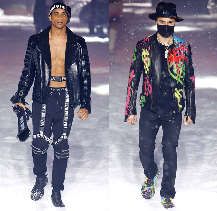 Philipp Plein 2018-2019 Fall Autumn Winter Mens Runway Catwalk Looks - New York Fashion Week NYFW - UFO Futuristic Sportswear Alpine Arctic Skis Snowboards Mountain Climber Playmate Playboy Cover Straps Belts Aviator Helmet Nylon Thermal Plaid Check Harness Zippers Buckles Graffiti Patches Emblems Outerwear Parka Quilted Puffer Down Coat Sweatshirt Plush Fur Shearling Leather Motorcycle Biker Bomber Jacket Denim Jeans Jogger Fanny Pack Belt Bum Bag Boots Goggles Fedora Hat Chain Mask Backpack