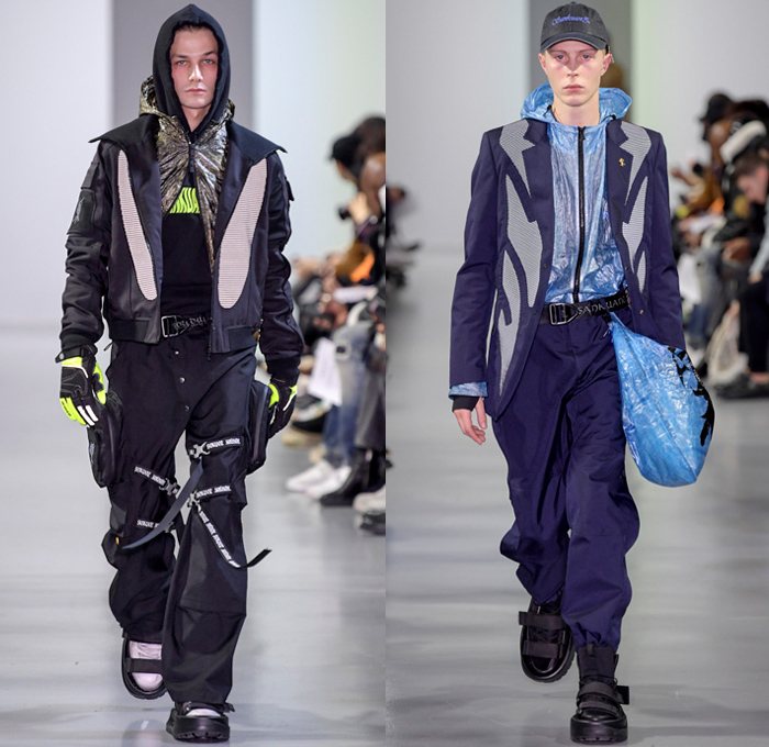 Sankuanz 2018-2019 Fall Autumn Winter Mens Runway Show Catwalk Looks - Mode à Paris Fashion Week Mode Masculine France - Post-Apocalyptic Survivalism Kill The Wall Utilitarian Technical Fabrics Reflective Panels Dystopian Streetwear Urban Vines Nylon Cargo Pockets PVC Vinyl Plaid Check Wrinkles Creases Metallic Foil Coat Parka Field Jacket Quilted Waffle Anorak Sweater Gloves Backpack Fanny Pack Waist Pouch Belt Bag Baseball Cap Sack Tote Mask Scarf Boots Strapped On Sandals
