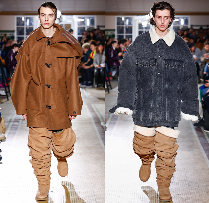 Y/PROJECT 2018-2019 Fall Autumn Winter Mens Runway Show Catwalk Looks - Mode à Paris Fashion Week -  Denim Jeans Tiered Overlapping Elongated Hem Patchwork Retro Faded Acid Wash Trucker Jacket Oversized Outerwear Trench Coat Overcoat Plush Fur Shearling Sheepskin Quilted Waffle Puffer Down Parka Anorak Sweatshirt Leather Suit Blazer Knit Sweater Wool Vest Deconstructed Half Split Extra Panel Hybrid Combo Stripes Fins Normcore Plaid Tartan Check Thigh High Boots Scarf Trainers Sneakers