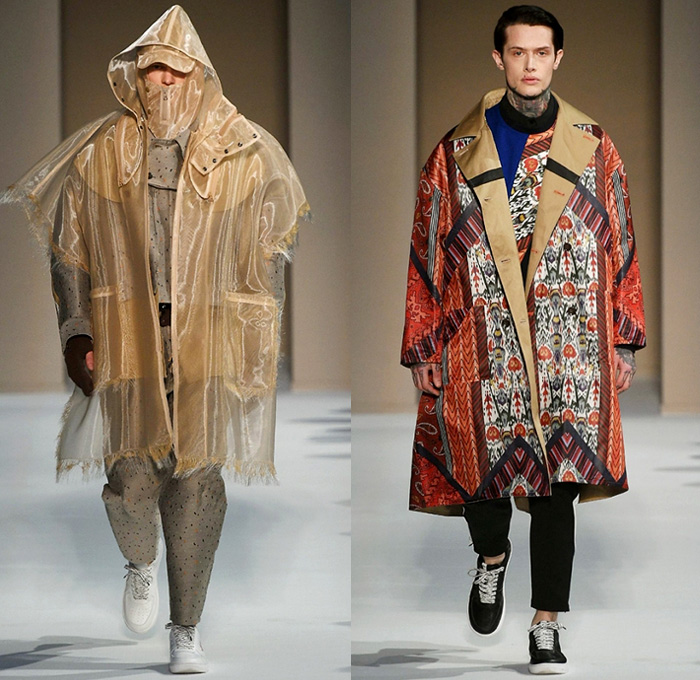 Yoshio Kubo Supported By CNMI 2018-2019 Fall Autumn Winter Mens Runway Catwalk Looks - Milano Moda Uomo Milan Fashion Week Italy - Lightweight Parachute Rainwear Transparent Sheer Tulle Frayed Raw Hem Pinstripe Mix Match Mash Up Zigzag Abstract Tribal Stripes Shaggy Plush Fur Fringes Leaves Foliage Print Oversized Outerwear Coat Parka Hood Poncho Sweater Bomber Jacket Sweatshirt Robe Kimono Half Panel Suit Blazer Cropped Pants Tapered Sneakers Gloves Headband Boots Hat Neck Flap
