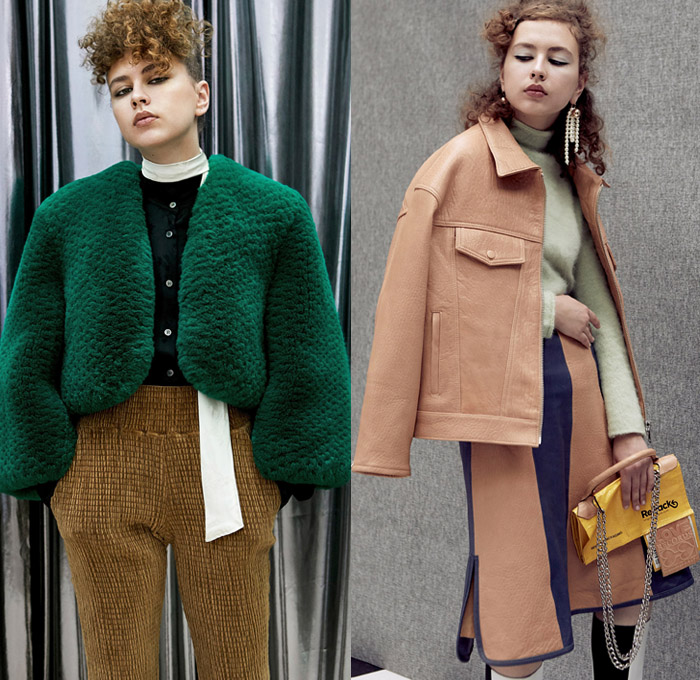 Aalto 2018 Pre Fall Autumn Womens Lookbook Presentation - Love Records Denim Jeans Paper Cutout Hem Extra Flap Trucker Jacket Flare Bell Bottom Trench Coat Blouse Shirt Blazer Strap Loose Tie One Shoulder Turtleneck Parka Quilted Waffle Puffer Down Parka Detachable Panels Cape Plush Mohair Fur Stripes Plaid Tartan Check Zipper Knit Embroidery Flowers Floral Lace Up Wide Leg Trousers Palazzo Pants Miniskirt Petal Hem Cinch Dress Backpack Bag Repack Crossbody Reusable Packaging Platforms Shoes