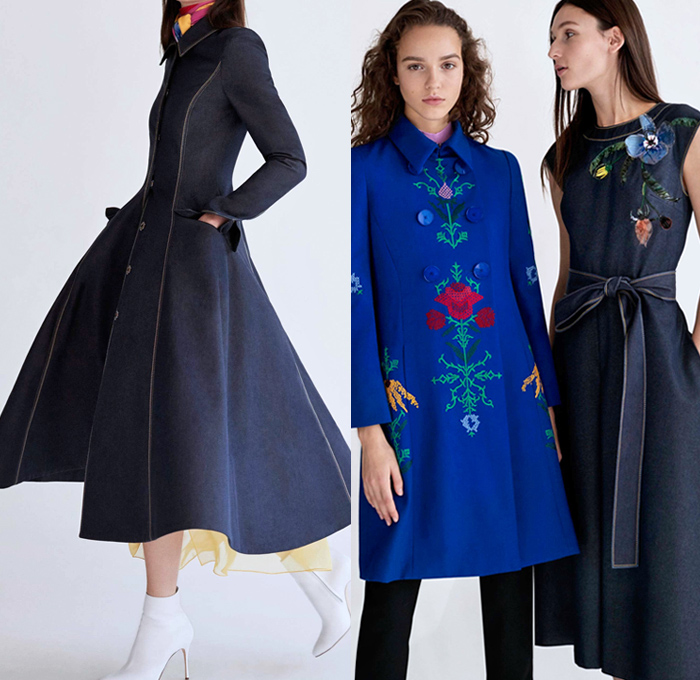 Carolina Herrera 2018 Pre Fall Autumn Womens Lookbook Presentation - Dahlia Lilies Orchid Tulips 3D Flowers Floral Embroidery Knot Bedazzled Paillettes Beads Crystals Decorative Art Sheer Chiffon Organza Tulle Cinch Accordion Pleats Stripes Denim Jeans Wide Leg Trousers Palazzo Pants Blazer Pantsuit Plush Fur Oversized Coat Blouse One Shoulder Strapless Maxi Dress Gown Eveningwear Midi Skirt Shirtdress Boots