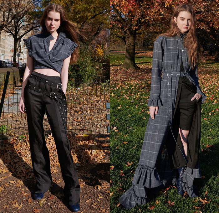 Cinq à Sept 2018 Pre Fall Autumn Womens Lookbook Presentation - Denim Jeans Furry Sleeve Shearling Outerwear Trench Coat Flowers Floral Botanical Embroidery Mix Match Mash Up Strapless Bustier Corset Ruffles Check Tiered Bell Sleeves Bandeau Crop Top Midriff Wrap Shirtdress High Waist Pants Pencil Skirt Shorts Boots Straps Belts