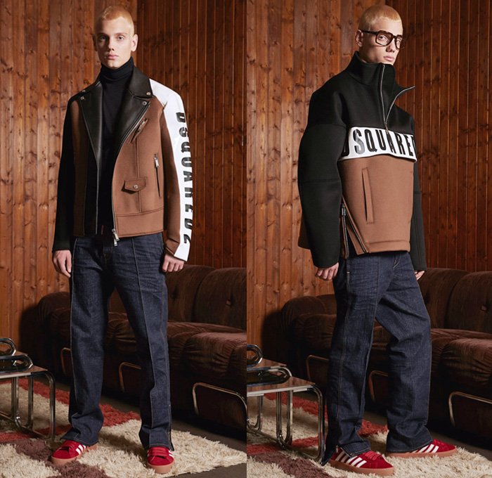 Dsquared2 2018 Pre Fall Autumn Mens Lookbook Presentation - Outdoorsman Denim Jeans Panels Distressed Outerwear Coat Parka Suit Bomber Motorcycle Biker Jacket Knit Sweater Cardigan Vest Waistcoat Cargo Pockets Mohair Plaid Tartan Check Metallic Camouflage Shorts Wide Leg Pants Furry Hat Plush Shearling Sport Socks 5 Stripes Sneakers Reading Glasses Bowtie Sunglasses Trucker Cap Logo Typography Necktie Tuxedo Stripe