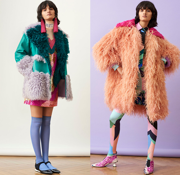 Emilio Pucci 2018 Pre Fall Autumn Womens Lookbook Presentation - Pop Art Andy Warhol Edie Sedgwick Botticelli Flowers Floral Embroidery Bedazzled Sequins Stripes Spots Fringes Tassels Lace Sheer Chiffon Overcoat Hanging Sleeve Knit Sweater Turtleneck Blouse Cinch Plush Fur Pantsuit Bell Hem Tiered Dress Gown Eveningwear Shirtdress Jeans Shorts Miniskirt Leggings Tights Leg Warmers Gloves Tie Up Back Flats Crossbody Bag Tote Sunglasses Socks Scarf Fanny Pack Waist Pouch Belt BagNeck Ruffle