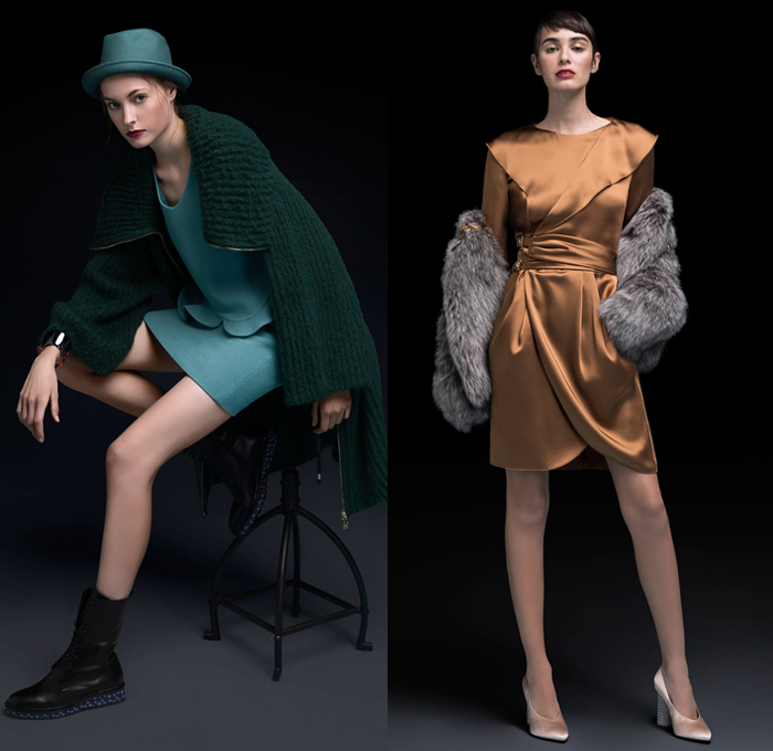 Emporio Armani 2018 Pre Fall Autumn Womens Lookbook Presentation - Quilted Waffle Puffer Outerwear Overcoat Bomber Jacket Pantsuit Plush Fur Long Sleeve Blouse Shirt Chunky Knit Sweater Ribbed Cardigan Shawl Satin Pussycat Bow Ribbon Geometric Velvet Sheer Chiffon Stripes Dress Bootcut Denim Jeans Shorts Snakeskin Kitten Heels Polka Dots Crossbody Bag Logo Mini Micro Bag Metallic Studs Hat Fedora Chain Thigh High Above The Knee Leather Boots High Tops Trainers