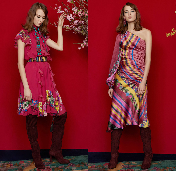 Etro 2018 Pre Fall Autumn Womens Lookbook Presentation - Denim Jeans Tuxedo Stripe Frayed Raw Hem Destroyed Flare Outerwear Coat Kimono Robe Wool Jacket Knit Sweater Crop Top Midriff Pantsuit Maxi Dress One Shoulder Scarf Fringes Ornamental Decorative Art Brocade Jacquard Satin Flowers Floral Wide Leg Trousers Palazzo Pants Ruffles Tiered Stripes Paisley Zigzag Crossbody Bag Boots Suede Chain Heels