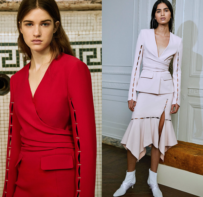 Jonathan Simkhai 2018 Pre Fall Autumn Womens Lookbook Presentation - Denim Jeans Jacket Straps Cinch Bell Sleeves Noodle Strap Flare Turtleneck Strapless Trenchdress One Shoulder Shirting Tailored Shirtdress Robe Trench Coat Sleepwear Lounge Cutout Sleeves Handkerchief Angular Hem Bell Bottom Belted Waist Onesie Jumpsuit Coveralls Pantsuit Satin Wrap Around Tie Up Waist Knot Holes Stripes Butterfly Cinch Lace Mesh Sheer Chiffon Velvet Wrapped Heels Thigh High Boots