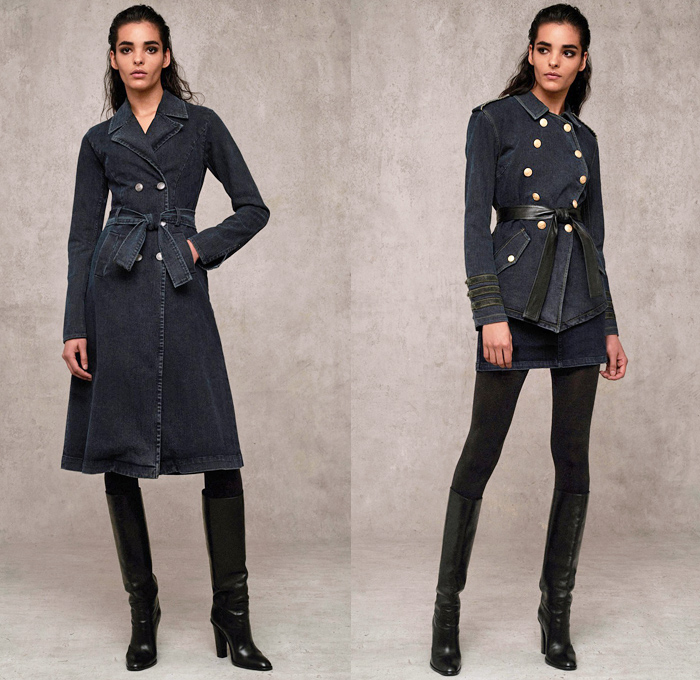 Marissa Webb 2018 Pre Fall Autumn Womens Lookbook Presentation - Denim Jeans Outerwear Trench Coat Buttons Double Breasted Frayed Raw Hem Paper Bag Waist Slim Tapered Peel Away Fold Over Sailor Pants Strapless Tie Up Waist Blouse Onesie Jumpsuit Coveralls Playsuit Cap Sleeve Knit Sweater Cardigan Noodle Strap Halterneck Lace Embroidery Needlework Velvet Camouflage Pinstripe Flowers Floral Dress Tiered Skirt Wide Leg Trousers Palazzo Pants Leggings Tights Leather Boots