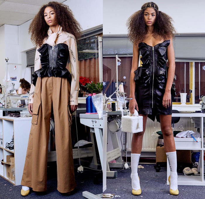 Natasha Zinko 2018 Pre Fall Autumn Womens Lookbook Presentation - Denim Jeans Cargo Pockets Torn Detachable Sleeve Frayed Cutoffs Shorts Shearling Flowers Floral Plaid Tartan Check Ruffles Script Bedazzled Sequins Spangles Paillettes Bustier Sweatshirt Strapless Peacoat Quilted Waffle Puffer Down Jacket Overcoat Maxi Dress Georgette Gown Jogger Sweatpants Mismatch Leggings Stockings Asymmetrical Wide Leg Trousers Palazzo Pants Beanie Knit Cap Furry Bag Furry Handbag Slippers Scarf