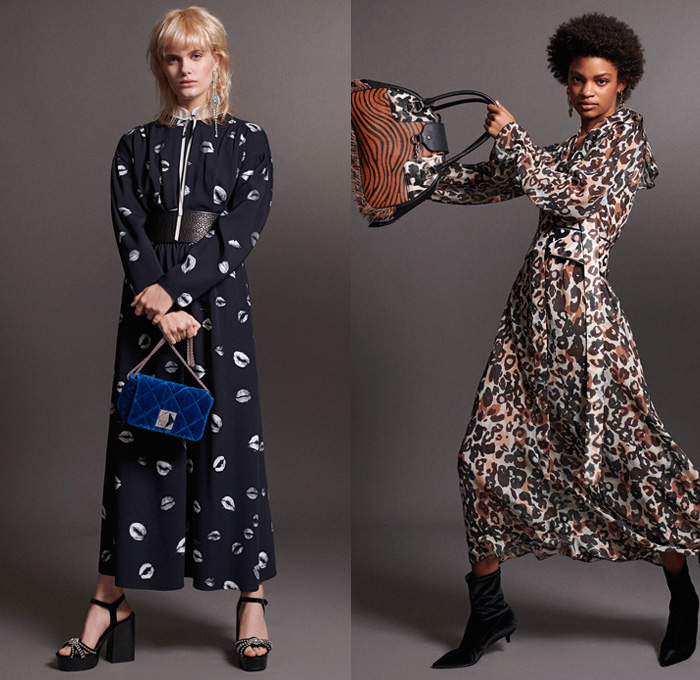 Sonia Rykiel 2018 Pre Fall Autumn Womens Lookbook Presentation - Knit Sweater Threads Trees Turtleneck Tiger Blouse Pantsuit Shirtdress Parka Anorak Cargo Pockets Robe Capelet Hanging Sleeve Rainwear Trench Coat Blazerdress Stripes Lips Kiss Velvet Quilted Puffer Fringes Threads Leopard Dots Plush Fur Tweed Frayed Corduroy Dress Shorts Miniskirt Jogger Sweatpants Kitten Heels Platform Shoes Heels Boots Crossbody Handbag Tote Micro Mini Circular Bag