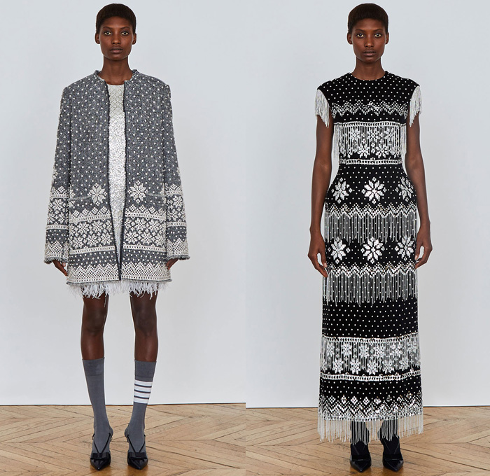 Thom Browne 2018 Pre Fall Autumn Womens Lookbook Presentation - Denim Jeans Plush Fur Shearling Outerwear Coat Cocoon Quilted Waffle Puffer Down Jacket Leg O'Mutton Sleeves Hooded Parka Arctic Wool Pantsuit Cape Hanging Sleeve Stripes Accordion Pleats Weave Crochet Knit Loops Fringes Bedazzled Gemstones Crystals Sheer ChiffonTulle Plaid Tartan Check Hybrid Combo Panel Dress Gown Eveningwear Shirtdress Athletic Socks Ankle Boots Crossbody Bag Boxy Tote Handbag Gloves Necktie