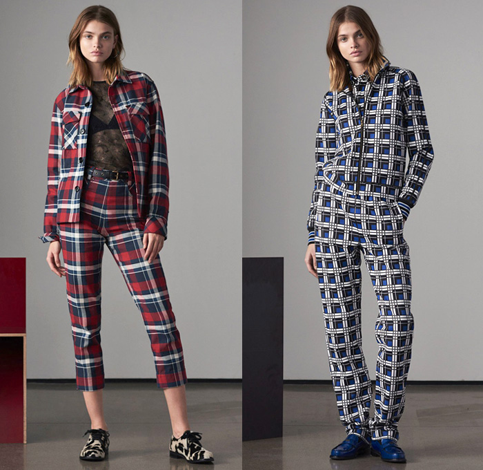 Tomas Maier 2018 Pre Fall Autumn Womens Lookbook Presentation - Denim Jeans Straps Belts Pinafore Apron Dress Check Plaid Tartan Sheer Mesh Accordion Pleats Sporty Athleisure Tracksuit Outerwear Coat Knit Sweater Cardigan Bomber Jacket Blouse Blazer Tie Up Cinch Shirtdress Nylon Miniskirt Shorts Swimwear Maillot Bikini Socks Brogues Loafers Cow Print Handbag Tote Clutch Crossbody Furry Slippers