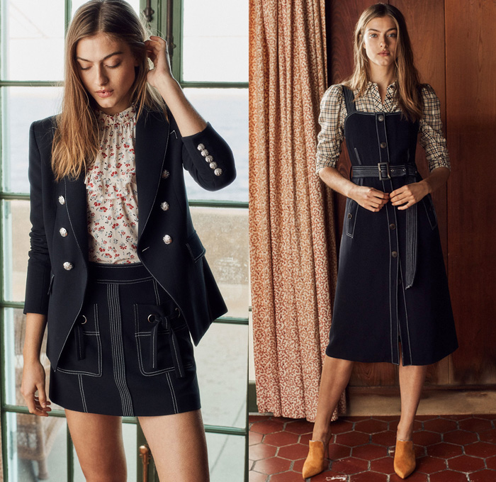 Veronica Beard 2018 Pre Fall Autumn Womens Lookbook Presentation - Denim Jeans Flare Frayed Raw Hem Leather Jacket Blazer Pantsuit Blouse Drawstring Cinch Ruffles Flowers Floral Plaid Tartan Check Lace Miniskirt Cargo Pockets Pinafore Dress Contrast Stitching Cropped Pants Culottes Noodle Strap Mix Match Mash Up One Shoulder Pointed Shoes