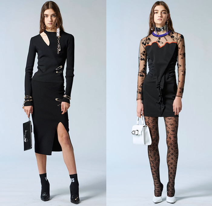 Versus Versace 2018 Pre Fall Autumn Womens Lookbook Presentation - High Street Ballerina Poodle Dress Logo Denim Jeans Straps Belts Print Zippers Crop Top Midriff Bandeau Sweatshirt Bomber Jacket Quilted Puffer Pantsuit Peacoat Shirtdress Sweater One Shoulder Sheer Lace PVC Vinyl Pleather Half Panel Cinch Drawstring Accordion Pleats Jogger Sweatpants Leggings Stockings Miniskirt Boots Heels Sneakers Trucker Hat Chain Choker Safety Pins Clutch Doctor's Bag Mini Backpack Fanny Pack Waist Pouch