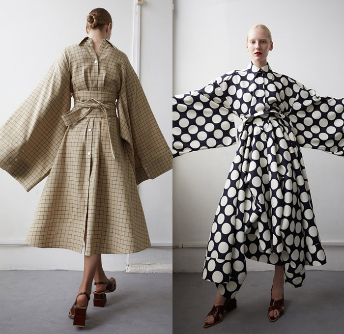 A.W.A.K.E. 2018 Resort Cruise Pre-Spring Womens Lookbook Presentation - Outerwear Trench Coat Quilted Waffle Puffer Hooded Parka Oversized Kimono Wrap Robe Bell Wide Sleeves Elongated Long Sleeve Blouse Shirt Buttons Deconstructed Panels Polka Dots Spots Reverse Tie Up Check Grid Lattice Obi Sash Shirtdress Topographical Worm Hanging Sleeve Drapery Wrap Leg O'mutton Bloated Sleeves Sheer Chiffon Organza Tulle One Shoulder Halterneck Accordion Pleats Skirt Frock Pleats Wide Leg Trousers Palazzo Pants Platform Heels