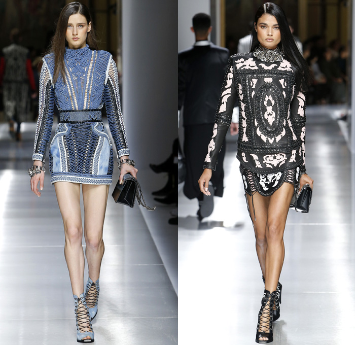 Balmain 2018 Resort Cruise Pre-Spring Womens Runway Catwalk Looks Collection - Intricate Knit Crochet Basketweave Lace Needlework Embroidery Outerwear Blazer Cutout Waist Tuxedo Cocktail Jacket Nautical Sailor Marinière Anchor Embellishments Adornments Decorated Bedazzled Jewels Metallic Studs Fringes Ornamental Decorative Art Chain Leaves Foliage Botanical Flowers Floral Pattern Motif Mesh Perforated Swirls One Shoulder Miniskirt Dress Shirtdress Ruffles Frills Ruche Sheer Chiffon Organza Tulle Satin Silk Poodle Circle Skirt Asymmetrical Hem Gown Eveningwear Denim Jeans Stripes Skinny Lace Up Cross Stitch Gladiator Thigh High Boots Choker Western Necktie Necklace Mini Micro Bag Purse Bracelet Earrings