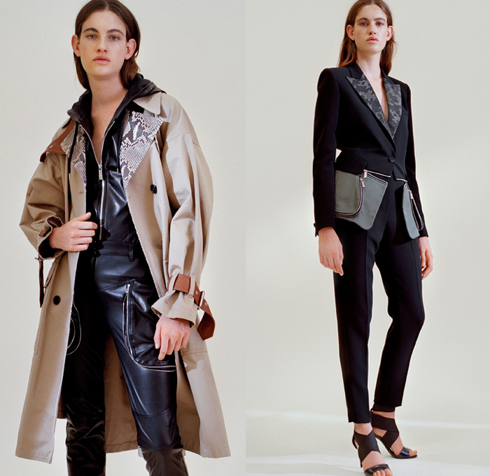 Barbara Bui 2018 Resort Cruise Pre-Spring Womens Lookbook Presentation - Grommets Eyelets Metal Rings Leather Jacket Outerwear Trench Coat Long Sleeve Blouse Shirt Onesie Jumpsuit Coveralls Bib Brace Dungarees Shirtdress One Shoulder Hooded Sweatshirt Pantsuit Lace Up Embroidery Embellishments Adornments Decorated Bedazzled Metallic Studs Zipper Gold Ruffles Flounce Snake Python Reptile Military Camouflage Cargo Pockets Miniskirt Dress Pants Trousers Pumps Crossbody Bag