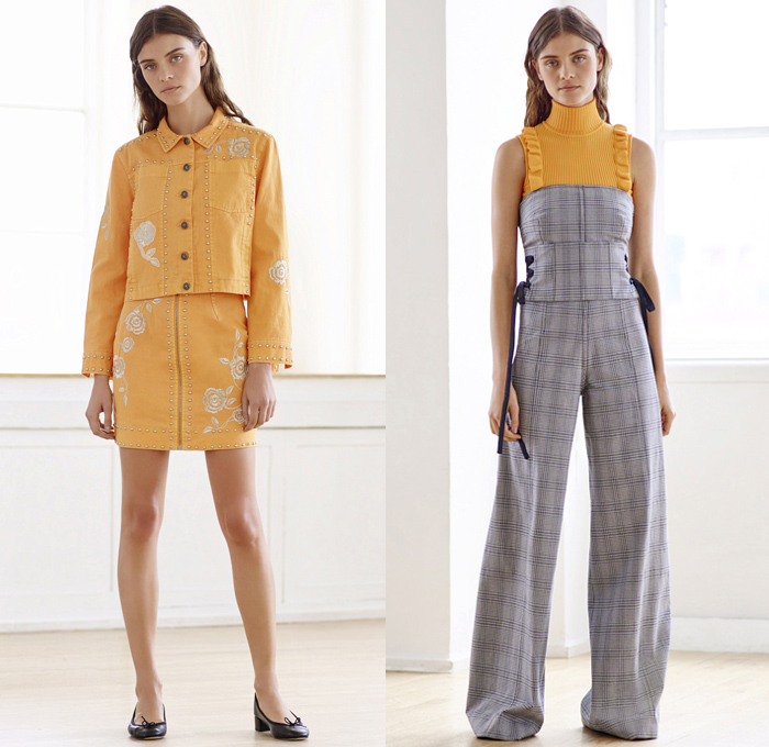 Cinq à Sept 2018 Resort Cruise Pre-Spring Womens Lookbook Presentation - Denim Jeans High Waist Skinny Lace Up Embroidery Bedazzled Jewels Metallic Studs Flowers Floral Bomber Jacket Hood Knit Cardigan Sweater Jumper Ruffles Fringes Bandeau Crop Top Midriff Sleeveless Turtleneck Plaid Tartan Check Blouse Long Sleeve Shirt Patches Blazer Pantsuit Tie Up Knot Ribbon Saturn Planet Heart Star Comet Silk Satin Leg-of-Mutton Sleeves Noodle Spaghetti Strap Tiered Dress Sporty Athleisure Gym Fitness Activewear Track Pants Flare Wide Leg Trousers Palazzo Pants Grommet Eyelet Rings