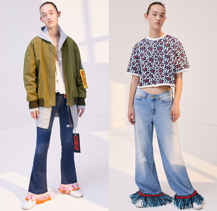 Dondup 2018 Resort Cruise Pre-Spring Womens Lookbook Presentation - 1970s Seventies Denim Jeans Cutoffs Shorts Frayed Raw Hem Destroyed Destructed Double Waistband Floral Buttons Closures Flare Bell Bottom Fringes Tassels Patches High Slit Skirt Outerwear Trench Coat Parka Bomber Jacket Pantsuit Onesie Jumpsuit Coveralls Boiler Suit Long Sleeve Blouse Shirt Sweater Jumper Hooded Sweatshirt Sheer Chiffon Organdy Tulle Crop Top Midriff Knit Mesh Fishnet Tracksuit One Shoulder Dress Ruffles Flounce Plaid Tartan Check Embroidery Adornments Decorated Bedazzled Sequins Paillettes Swirls Wide Leg Trousers Palazzo Pants Trucker Hat Boots Mules Fanny Pack Waist Pouch Belt Bag
