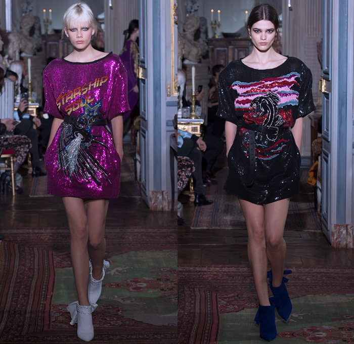 Peter Dundas 2018 Resort Cruise Pre-Spring Womens Runway Catwalk Looks Collection Paris France - Denim Jeans Shirt Frayed Raw Hem Fur Plush Shearling Outerwear Suede Trench Coat Starship Soul 1970s Seventies Rock N Roll Maxi Dress Goddess Gown Screen Siren Eveningwear Sheer Chiffon Organza Tulle Lace Embroidery Needlework Embellishments Adornments Decorated Appliqués Bedazzled Studs Sequins Flowers Floral Print Graphic Pattern Motif Onesie Jumpsuit Coveralls Strapless Cutout Shoulders Shirtdress Belted Waist Ornaments Decorative Art Drapery Sash Ribbon Knot Ruffles Silk Satin One Shoulder Geometric Halterneck Fringes Noodle Strap Dovetail Mullet Hem Waterfall Skirt High Slit Lace Up Snakeskin Boots