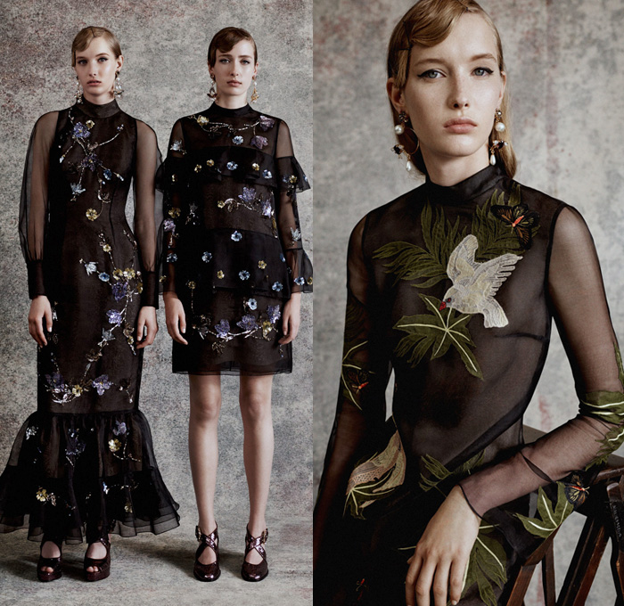 Erdem Moralioglu 2018 Resort Cruise Pre-Spring Womens Lookbook Presentation - One Shoulder Maxi Dress Gown Eveningwear Flowers Floral Leaves Foliage Botanical Print Graphic Motif Silk Satin Stripes Brooch Breastpin Bow Ribbon Knot Strapless Cutout Shoulders Brocade Jacquard Sheer Chiffon Organza Tulle Ruffles Frills Ruche Flounce Wrap Crop Top Midriff Butterflies Birds Garden Lace Embroidery Needlework Fringes Accordion Pleats Outerwear Trench Coat Pantsuit Blazer Jacket Wide Leg Trousers Palazzo Pants Skirt Frock Knit Sweater Jumper Mockneck Mules Boots Pumps Heels Opera Gloves Wide Belt