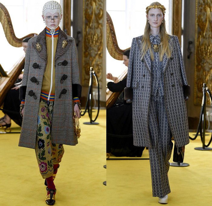 Gucci 2018 Resort Cruise Pre-Spring Womens Runway Catwalk Looks Collection - Palatine Gallery Palazzo Pitti Florence Italy - Renaissance Outerwear Trench Coat Overcoat Cape Hanging Sleeve Motorcycle Biker Leather Bomber Jacket Blazer Shaggy Plush Fur Cardigan Knit Capelet Vest Blouse Long Sleeve Shirt Butterfly Belt Stripes Leopard Leg O'Mutton Sleeves Stars Embroidery Bedazzled Sequins Flowers Floral Bud Geometric Librarian School Girl Nerd Grandma Geek Chic Ornaments Decorative Art Pussycat Bow Ribbon Art Paintings Asian Dragon Tiger Anchor Lace Fringes Suede Pie Mesh Lattice Silk Satin Metallic Halterneck Sheer Chiffon Organza Tulle Drapery Skirt Frock Socks High Heels Leggings Stockings Tights Hosiery Boots Culottes Sleepwear Pajamas Maxi Dress Gown Eveningwear Handbag Tote Purse Clutch Headband Turban Harp Headscarf Gloves Reading Colored Glasses Floppy Hat Fanny Pack Waist Pouch Belt Bag Choker Necklace Denim Jeans Cutoffs Shorts