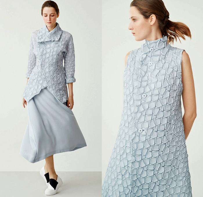 Issey Miyake 2018 Resort Cruise Pre-Spring Womens Lookbook Presentation - Technical Fabrics Stretch Accordion Pleats Plissé 3D Organic Shape Sculptural Stripes Ridges Ribbed Landscape Print Graphic Creases Cracks Cobblestones Tiles Outerwear Coat Robe Cardigan Sleeveless Dress Low Crotch Blouse Wrap Around Wide Leg Trousers Palazzo Hammer Pants Skirt Frock Crossbody Bag Sneakers