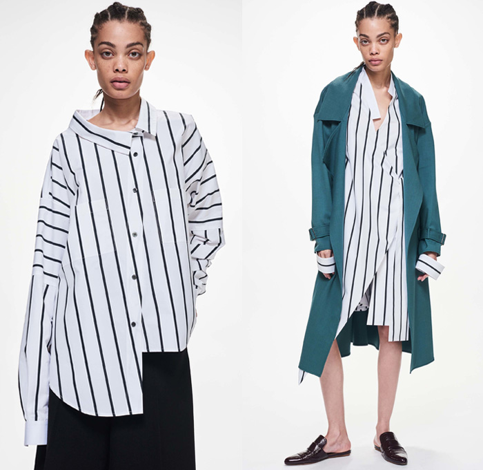 Ji Oh 2018 Resort Cruise Pre-Spring Womens Lookbook Presentation - Modular Minimal Deconstructed Hole Perforated Mesh Stripes Quilted Waffle Puffer Bomber Jacket Wool Outerwear Trench Coat Chunky Knit Sweater Jumper Ribbed Turtleneck Shirting Long Sleeve Blouse Tailored Tie Up Knot Ribbon Twist Buttons Pleats Wide Belt Sash Shirtdress Asymmetrical Hem Leather Cargo Pockets Slim Pants Trousers Strapless Open Shoulders Sweaterdress Loafers Mules