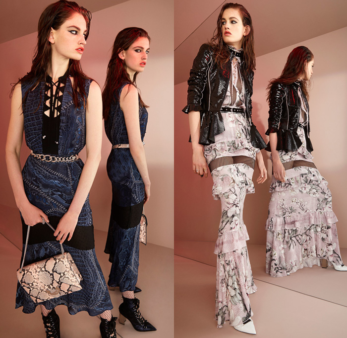 Just Cavalli 2018 Resort Cruise Pre-Spring Womens Lookbook Presentation - Rock n Roll Outerwear Motorcycle Biker Rider Jacket Tuxedo Cocktail Blazer Sheer Chiffon Organza Silk Satin Ruffles Long Sleeve Blouse Lace Mesh Embroidery Decorated Bedazzled Metallic Studs Cape Hanging Sleeve Chain Ornamental Print Decorative Art Animal Spots Leopard Cheetah Reptile Snakeskin Crocodile Alligator Wings Coins Grommets Eyelet Metal Rings Lace Up Maxi Dress Perforated Lasercut White Denim Jeans Skinny Cigarette Buttoned Hem Stockings Tights Fishnet Flare Shorts Tassels Bag Purse Pumps Boots