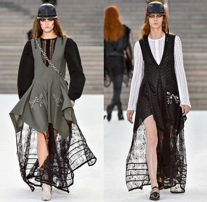 Louis Vuitton 2018 Resort Cruise Pre-Spring Womens Runway Catwalk Looks Collection Nicolas Ghesquière Miho Museum Kyoto Japan - Kabuki Japanese Asian Samurai Warrior Metallic Studs Cap Sleeves Blouse Shirt Suede Leather Knit Sweater Jumper Turtleneck Vest Waistcoat Quilted Waffle Puffer Down Jacket Stripes Blazer Jacket Boxy Coat Embroidery Adornments Decorated Bedazzled Sequins Gold Abstract Landscape Ornamental Print Decorative Art Illustration Peplum Tie Up Trees Sheer Chiffon Organza Tulle Maxi Dress Harness Leopard Cheetah Zebra Shirtdress Camouflage Shorts Leggings Lattice Pants Trousers Miniskirt Frock Gladiator Lace Up Boots Handbag Gloves Bucket Bag Minibag Baseball Cap Hat Cowgirl Chain Neckplate Armor