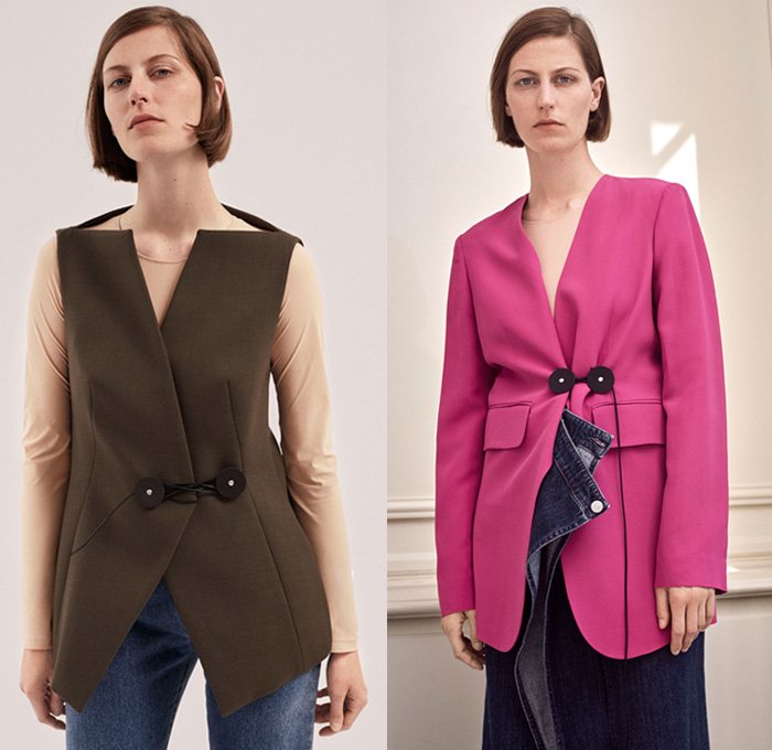 MM6 Maison Martin Margiela 2018 Resort Cruise Pre-Spring Womens Lookbook Presentation - Chunky Knit Sweater Jumper Ribbed Turtleneck Boxy Sleeveless Vest Waistcoat Outerwear Blazer Shirtdress Coat Fatigues Canvas Crop Top Midriff Peel Away Fold Over Cape Sheet Vareuse Rectangular Panels Velcro Detachable Denim Jeans Angular Hem Wide Leg Contrast Stitching Cargo Pockets Accordion Pleats Half Hybrid Sack Bag Chain Pointed Loafers Envelope Closure Zipper Sandal Boots