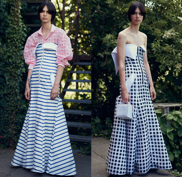 Natasha Zinko 2018 Resort Cruise Pre-Spring Womens Lookbook Presentation - Nautical Sailor Marinière Anchor Stripes Parka Robe Knit Crochet Mesh Perforated Holes Bow Ribbon Knot Shoulder Straps Picnic Check Plaid Shaggy Plush Fur Shearling Long Sleeve Blouse Shirt Maxi Dress Lantern Balloon Leg O'Mutton Sleeves Cutout Waist Embroidery Adornments Decorated Bedazzled Sequins Accordion Pleats Polka Dots Sheer Chiffon Tulle Strapless Open Shoulders Shirtdress Denim Jeans Frayed Raw Hem Destroyed Destructed Outerwear Trucker Jacket Peel Away Corset Handbag Box Tissue Bag Slippers Gladiator Pumps Sneakers Wide Brim Hat