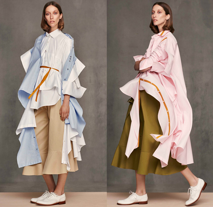 Palmer Harding 2018 Resort Cruise Pre-Spring Womens Lookbook Presentation - Deconstructed Shirting Drapery Pattern Cutting Cutout Stripes Ruffles Folds Frills Ruche Peel Away Asymmetrical Hem Layers Long Sleeve Blouse Shirt Waterfall Hem Twist Mix Match Mash Up Outerwear Trench Coat Volume Cape Shirtdress Wide Leg Cropped Trousers Palazzo Pants Dress Culottes Brogues