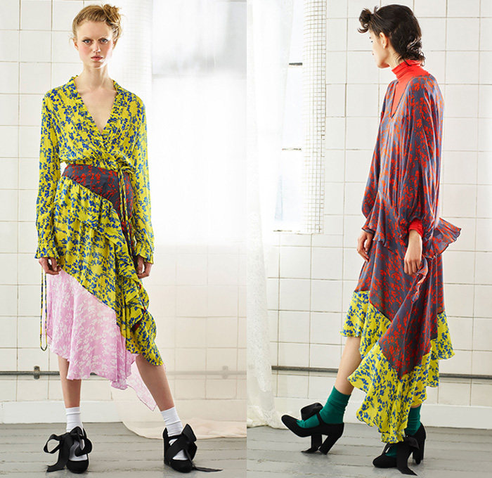 Preen Line 2018 Resort Cruise Pre-Spring Womens Lookbook Presentation - 1960s Sixties 1970s Seventies Counterculture Rainbow Stripes Flowers Floral Botanical Print Motif Plaid Tartan Check Ruffles Flounce Sheer Chiffon Organza Mix Match PVC Vinyl Pleather Chunky Knit Mesh Sweater Jumper Cardigan Turtleneck Lace Up Bow Ribbon Knot Blouse Shirt Cinch Drawstring Strapless Open Shoulders Sweatshirt Sleeveless Vest Outerwear Trench Coat Crop Top Midriff Miniskirt Midi Skirt Maxi Dress Asymmetrical Hem Tapered Pants Trousers Pumps Socks