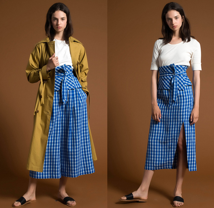 Sea New York 2018 Resort Cruise Pre-Spring Womens Lookbook Presentation - Tailored Denim Jeans Trucker Jacket Wide Leg Trousers Palazzo Pants Cropped Roll Up High Waist Onesie Jumpsuit Coveralls Frayed Raw Hem Wide Belt Shirtdress Outerwear Trench Coat Long Sleeve Blouse Shirt Tunic Bustier Accordion Pleats Ruffles Frills Ruche Flounce Bell Sleeves Mesh Lace Needlework Plaid Tartan Check Gingham Tie Up Knot Ribbon Lace Up Shoelace Drawstring Peasant Prairie Dress Strapless Open Shoulders Capelet Soutane Priest Chaplain Collar Patchwork Knit Ornamental Decorative Art Embroidery Tassels Flowers Floral Leaves Foliage Midi Skirt Slippers Flats Ballet Shoes