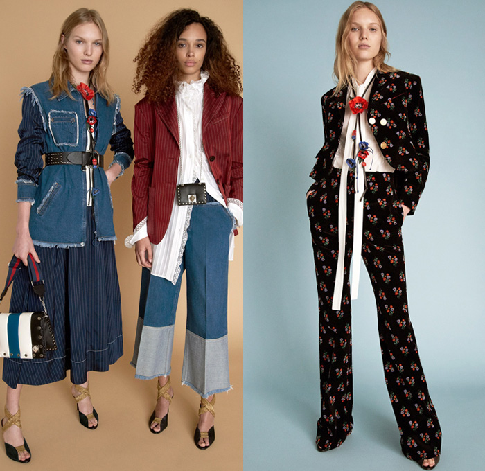 Sonia Rykiel 2018 Resort Cruise Pre-Spring Womens Lookbook Presentation - Parisienne California Pinstripe Blazer Jacket Pantsuit Long Sleeve Blouse Shirt Cardigan Parka Outerwear Trench Coat 3D Flowers Floral Leaves Foliage Print Graphic Lace Embroidery Chunky Knit Sweater Jumper Crochet Basketweave Fringes Threads Plaid Tartan Check Plastic Coated Ruffled Collar Mohair Fur Plush Tweed Wool Zipper Midi Skirt Peasant Dress Cargo Pockets Paper Bag Waist Shirtdress Shortall Combishorts Romper Onesie Playsuit Denim Jeans Vest Frayed Raw Hem Patchwork Cropped Wide Leg Trousers Palazzo Pants Flare Bell Bottom 1970s Seventies Bohemian Micro Mini Bag Metallic Studs Lanyard Purse Tote Mesh Travel Picnic Bag Pumps Heels