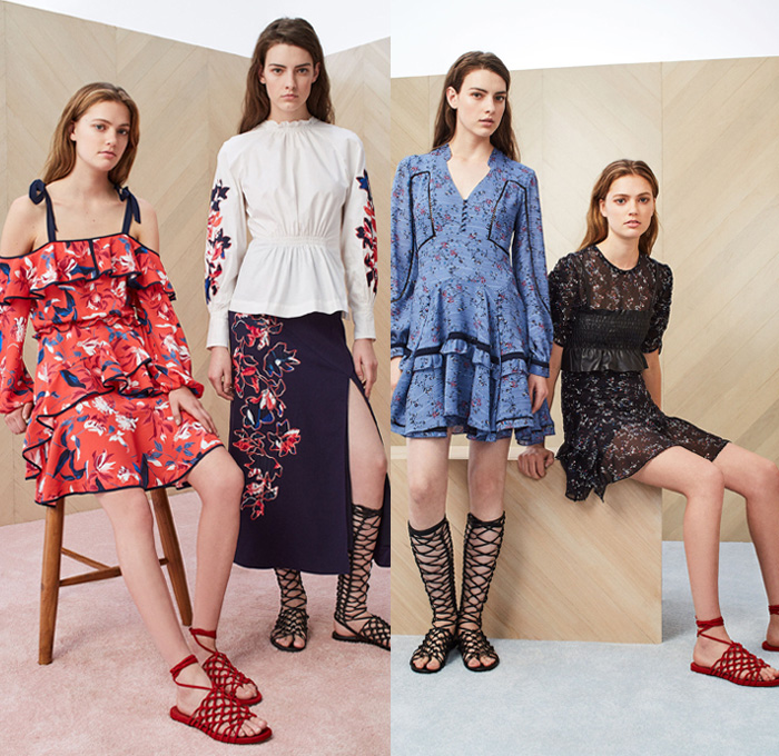 Tanya Taylor 2018 Resort Cruise Pre-Spring Womens Lookbook Presentation - Denim Jeans Panels Patchwork Quilted Waffle Stripes Toggle Drawstring Frayed Raw Hem Mix Match Mash Up Flowers Floral Botanical Print Graphic Embroidery Lace Up Ruffles Pleats Cinch Lace Mesh Stitch Fringes Threads Tie Up Waist Knot Ribbon Crochet Knit Sweater Jumper Strapless Maxi Dress Cutout One Shoulder Long Sleeve Blouse Shirt Outerwear Jacket Blazer Kimono Wrap Robe Field Utility Jacket Fatigues Cargo Pockets Miniskirt Wide Leg Trousers Palazzo Pants Flare Bell Bottoms Tuxedo Stripe High Slit Skirt Frock Gladiator Sandals Footwear